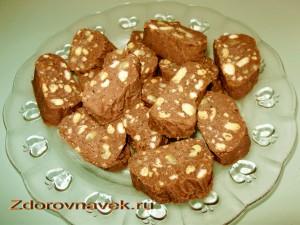 готовых продуктов, рецепт пирожного, шоколадная колбаска, ингредиенты для пирожного